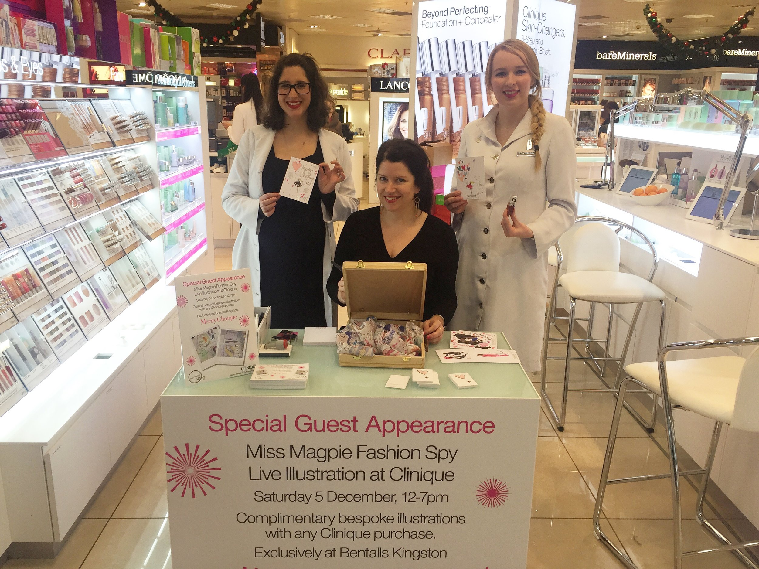 The best desk ever! Me illustrating for customers in Bentalls Kingston, for Clinique.