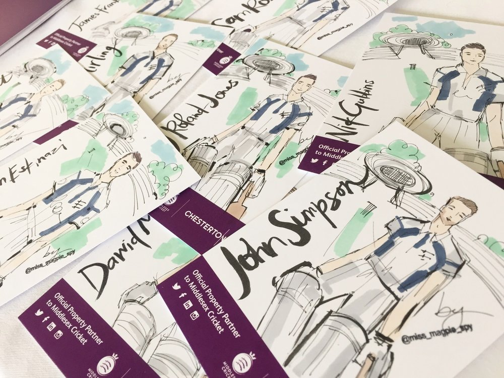 Illustrations of the Middlesex Cricket Team for Chestertons