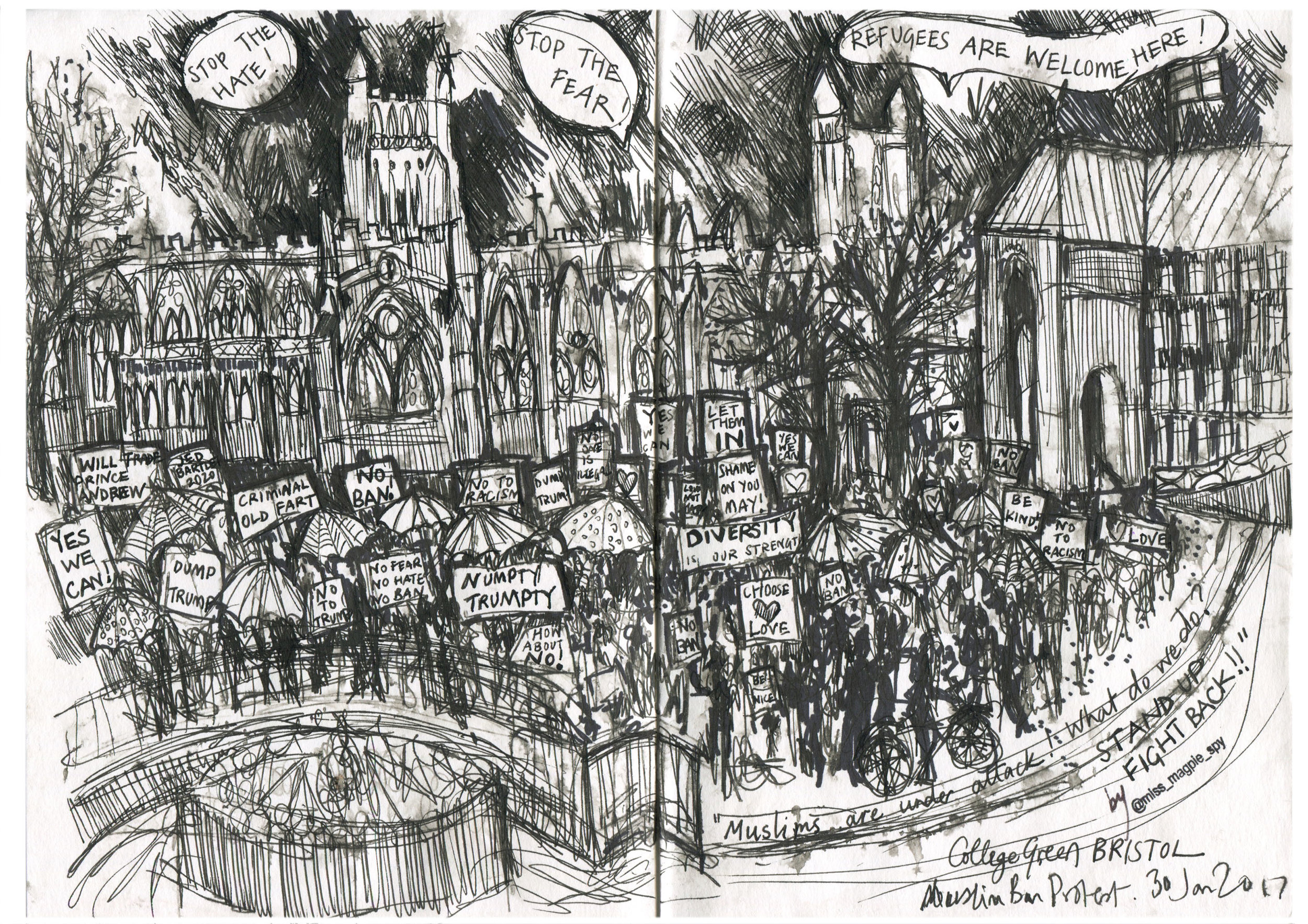 Created at the Muslim Ban Protest, College Green Bristol