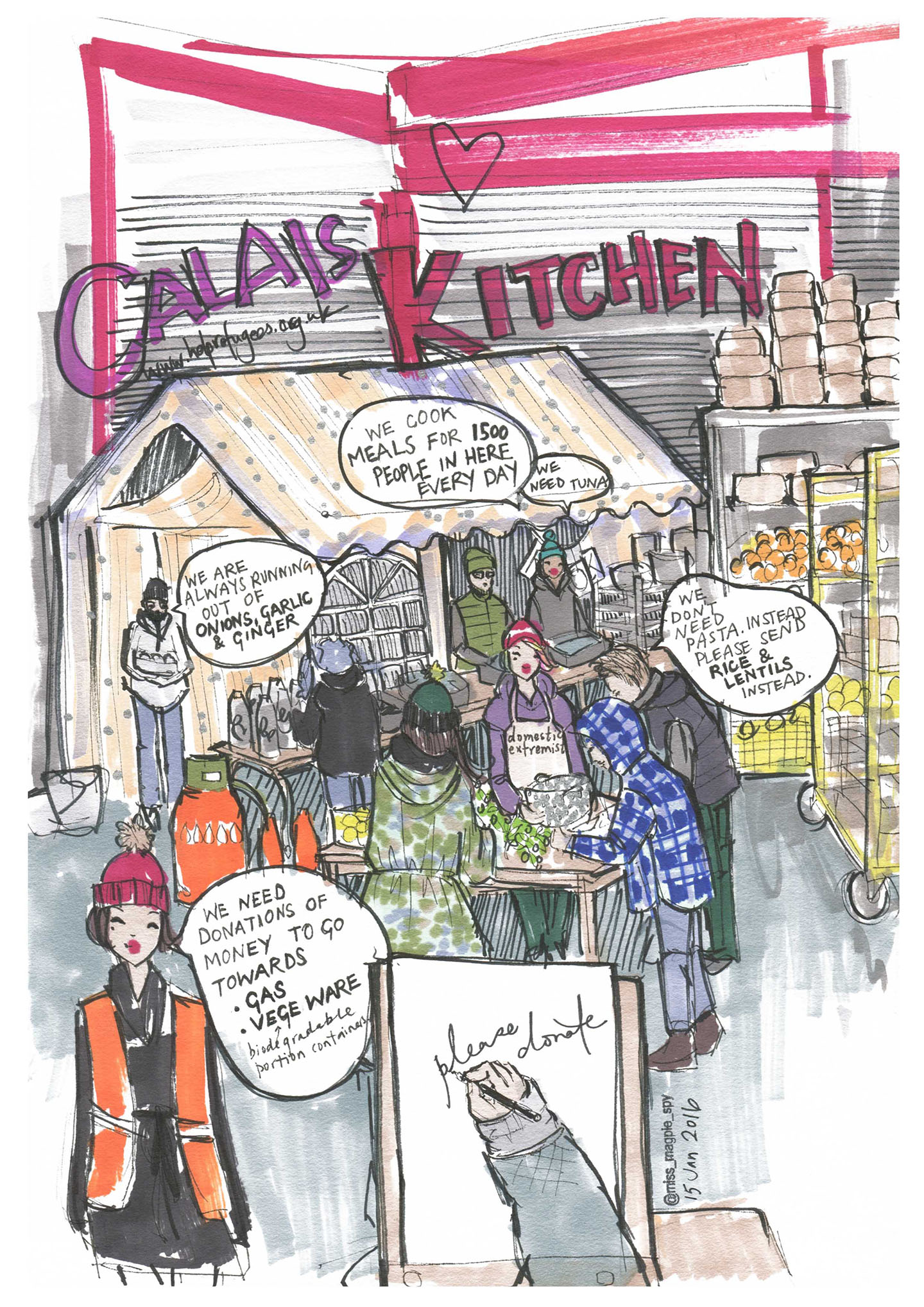 Created in Calais when volunteering for Help Refugees 2016