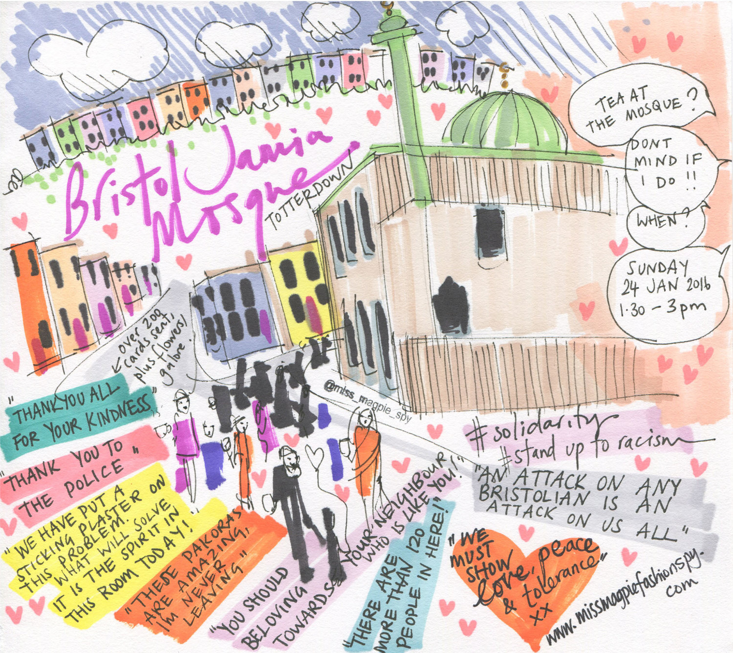 Illustrated in response to Bristol Jamia Mosque opening their doors to the community after an attack at the mosque