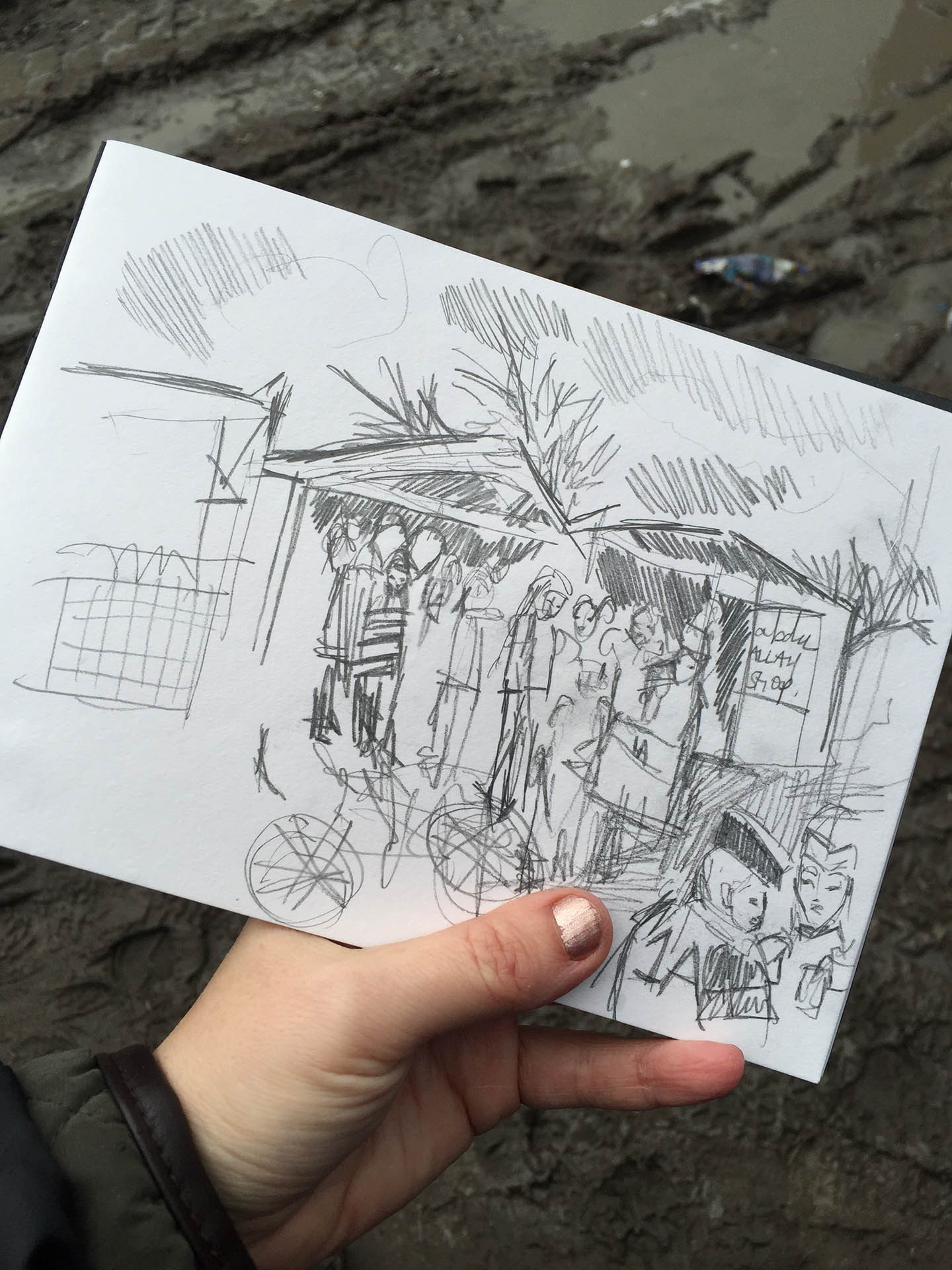 """Sketched in """"The Jungle"""" Calais, whilst volunteering with Help Refugees in 2016"""