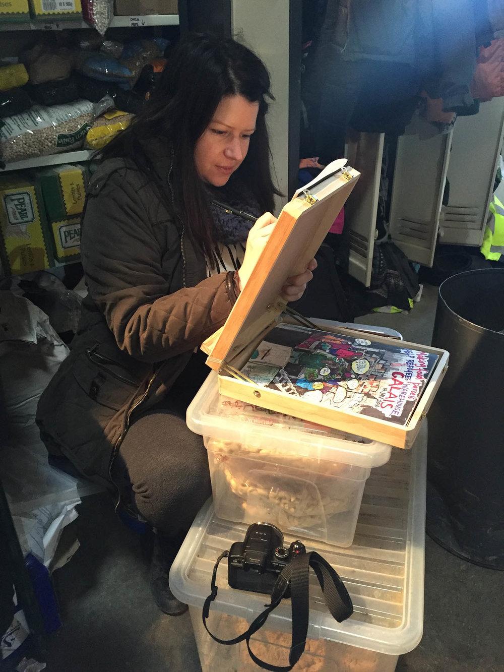 Niki illustrating for Help Refugees in Calais 2016