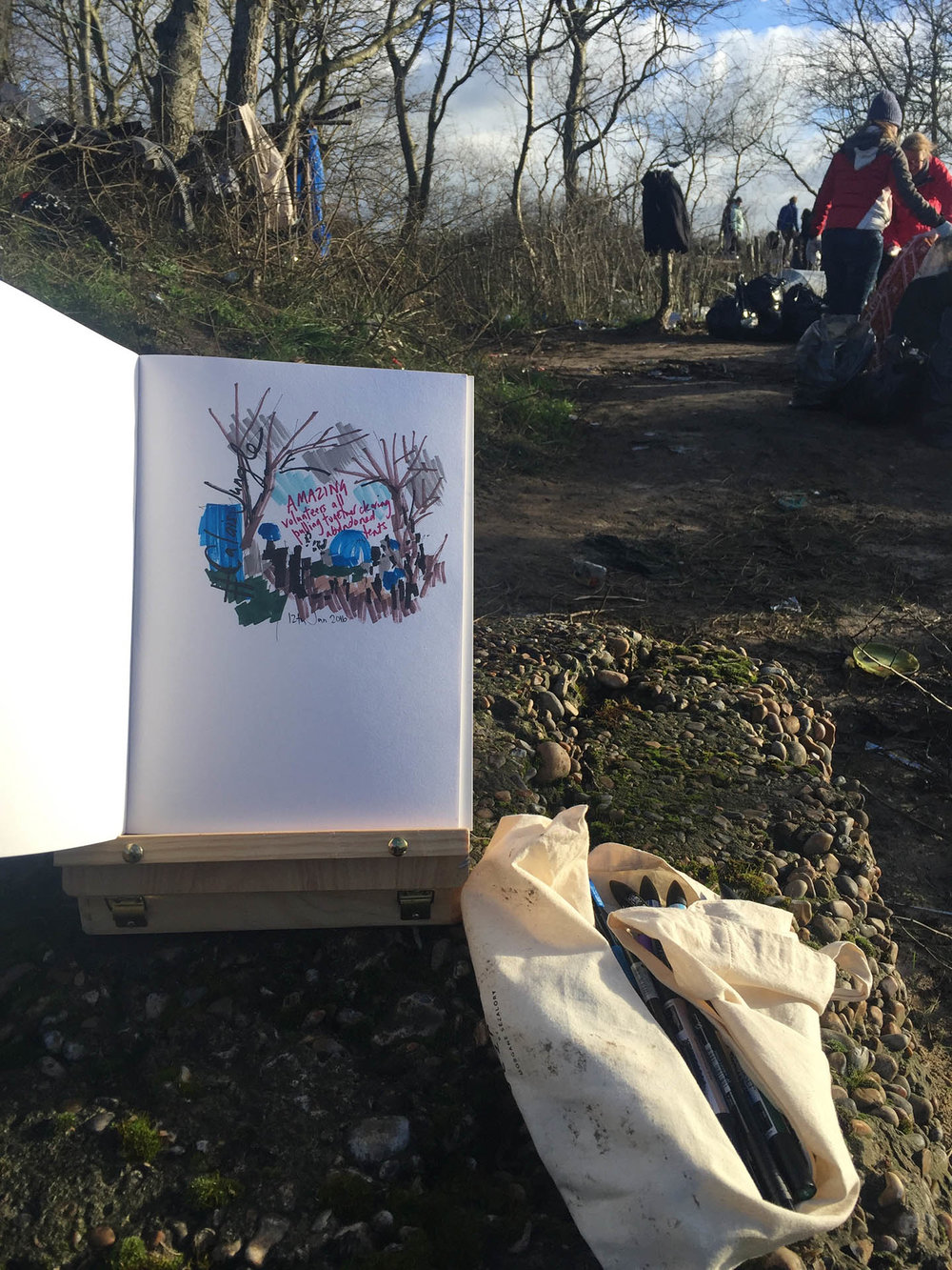 """Illustrating at """"The Jungle"""" Calais, 2016"""
