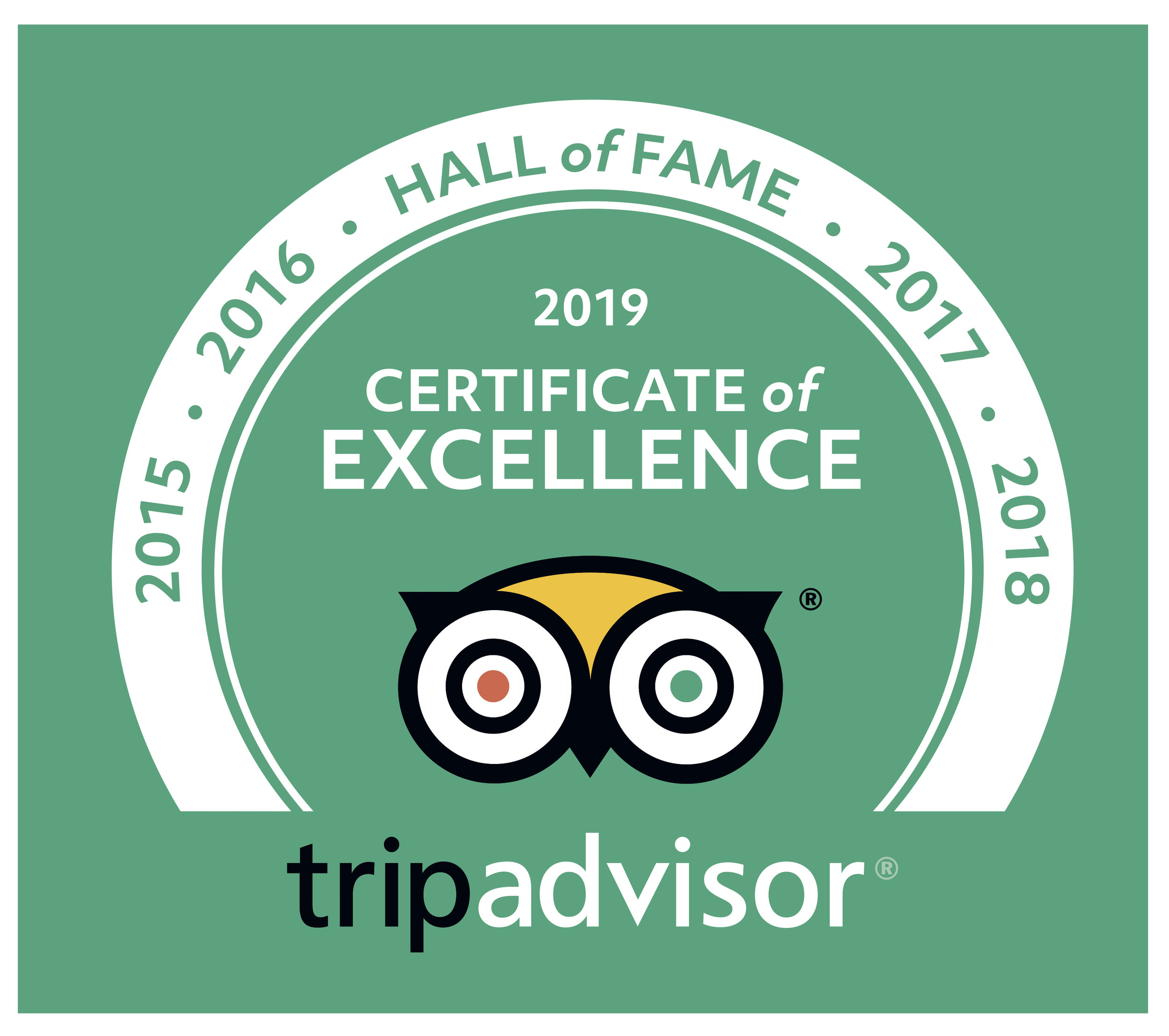 Trip Advisor Hall of Fame 2015-2018