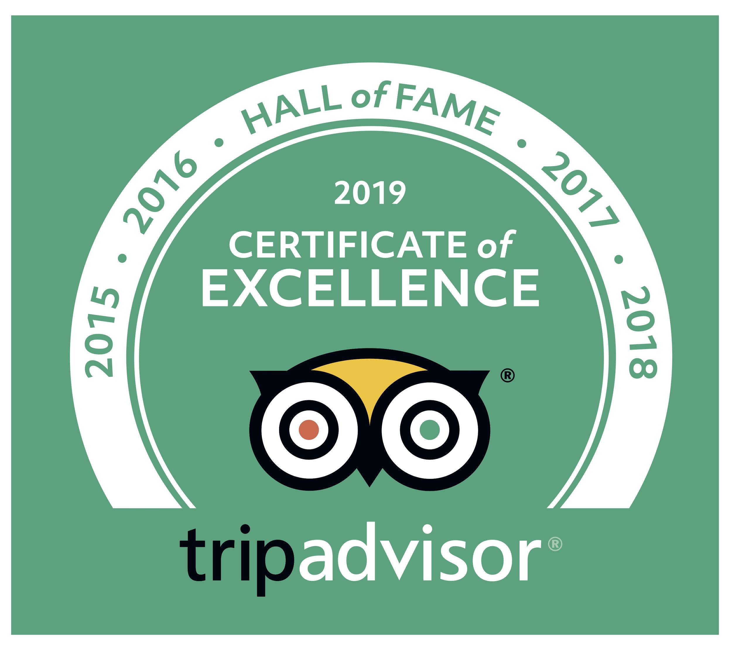 Trip Advisor Hall of Fame 2015-2018