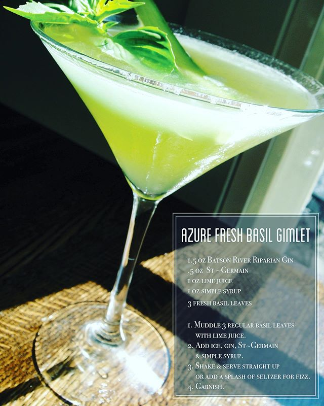 By Request! Azure's Fresh Basil Gimlet 1.5 oz Batson River Riparian Gin .5 oz St ~Germain  1 oz lime juice 1 oz simple syrup 3 fresh basil leaves 1. Muddle 3 regular basil leaves with lime juice 2. Add ice, gin, St~Germain & simple syrup 3. Shake & serve straight up, or add a splash of seltzer for fizz 4. Garnish with your freshest summer favorites. Here we used a fresh basil tuft and a slice of cucumber #batsonriverdistilling #kennebunkmaine #freshbasilgimlet#summercocktails #stgermain #freeportmaine