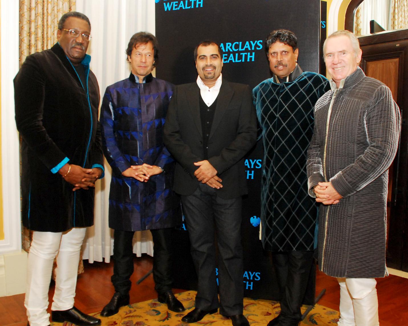 Clive Lloyd, Imran Khan, Shailendra Singh, Kapil Dev, Alan Borde