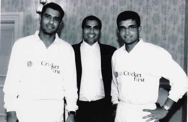 with Waqar Younis & Saurav Ganguly