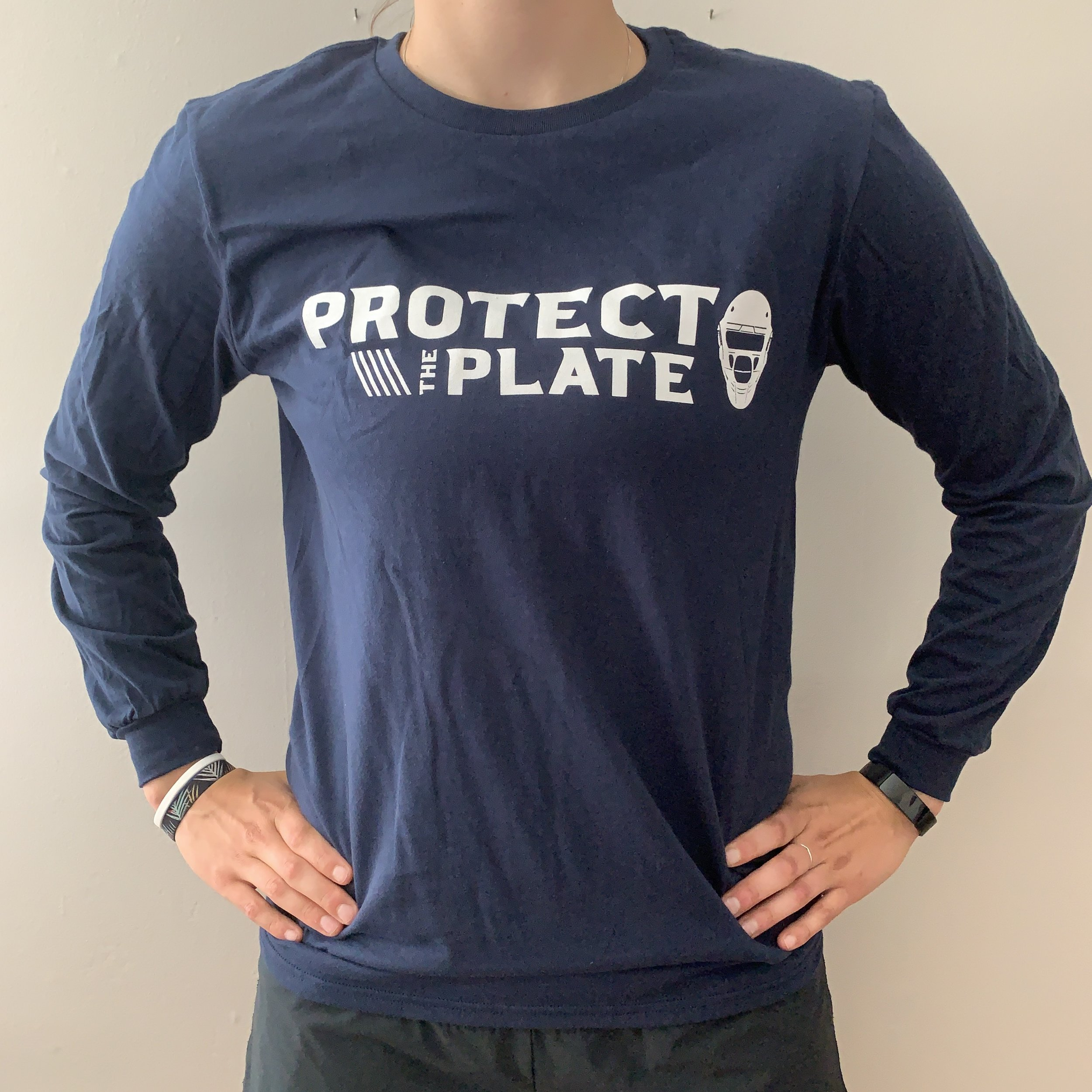 Wordmark Logo Long Sleeve T-Shirt – Navy  $25