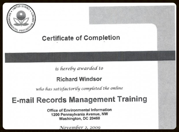 The EPA's FOIA response revealed that alias Richard Windsor successfully completed several internal certification programs.