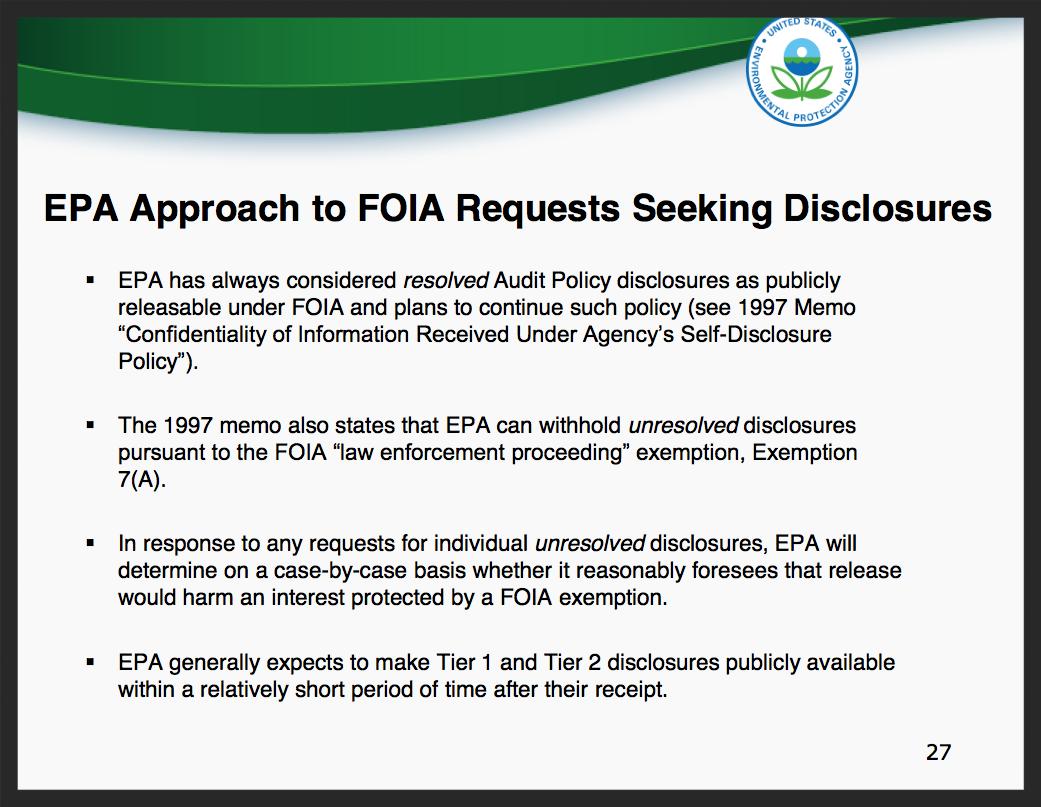 A slide from the EPA's  New eDisclosure Portal Webinar