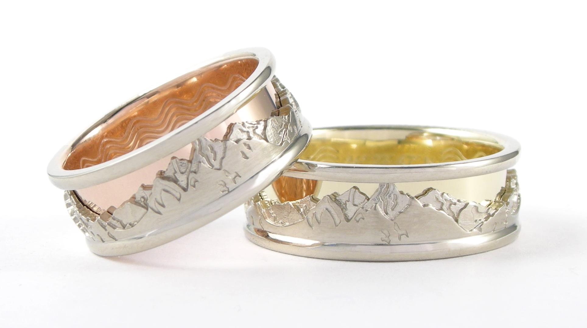 Eau et Montagnes  Or rose, or jaune et or blanc14k Échelle de prix pour chaque bague: 1600$ à 1800$