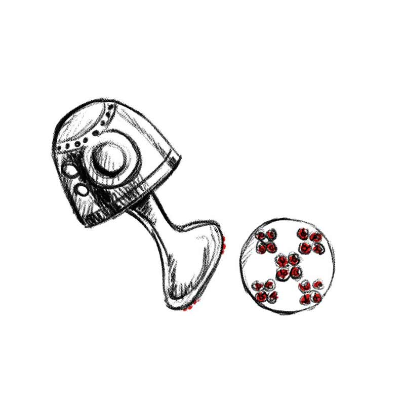 Hand drawn sketch of the cufflinks made by Pierre-Mathieu.
