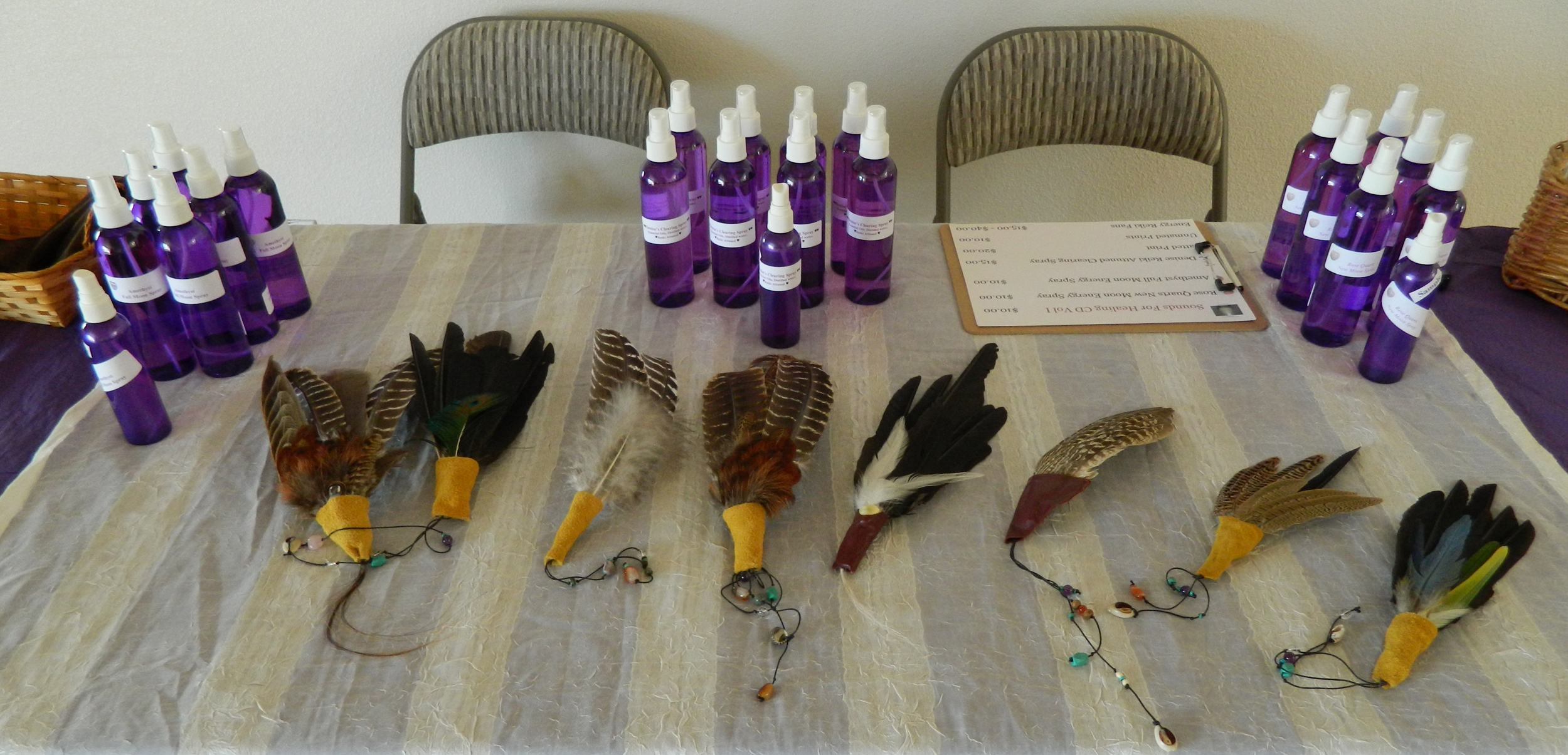 When attending a class or event of Denise's you can purchase, Clearing Sprays, Healing Fans as well as Gem Elixirs