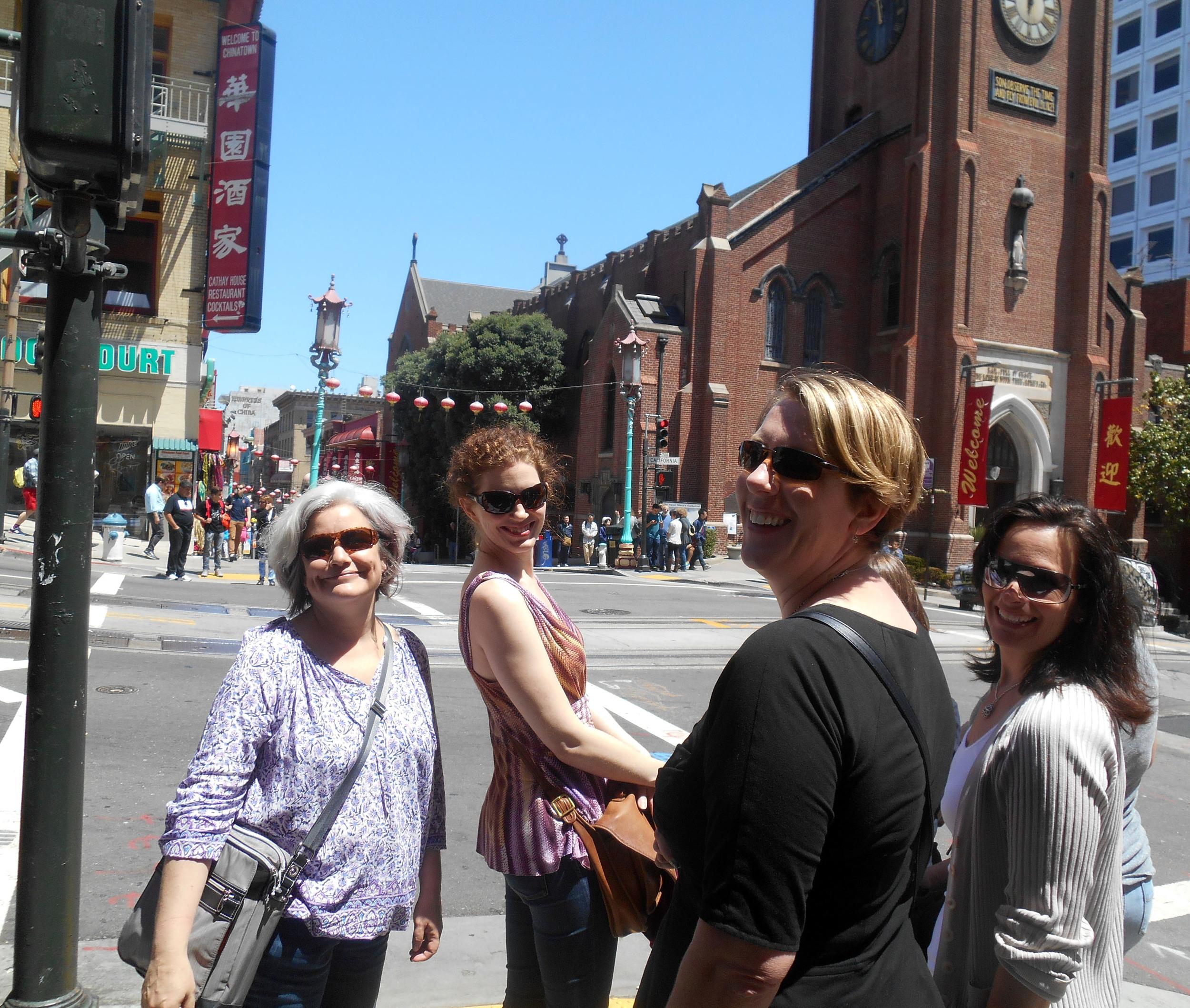 Julie Dillard, Sarah McGuire, Kristen Crowley Held and Amy Allgeyer chilling in Chinatown.