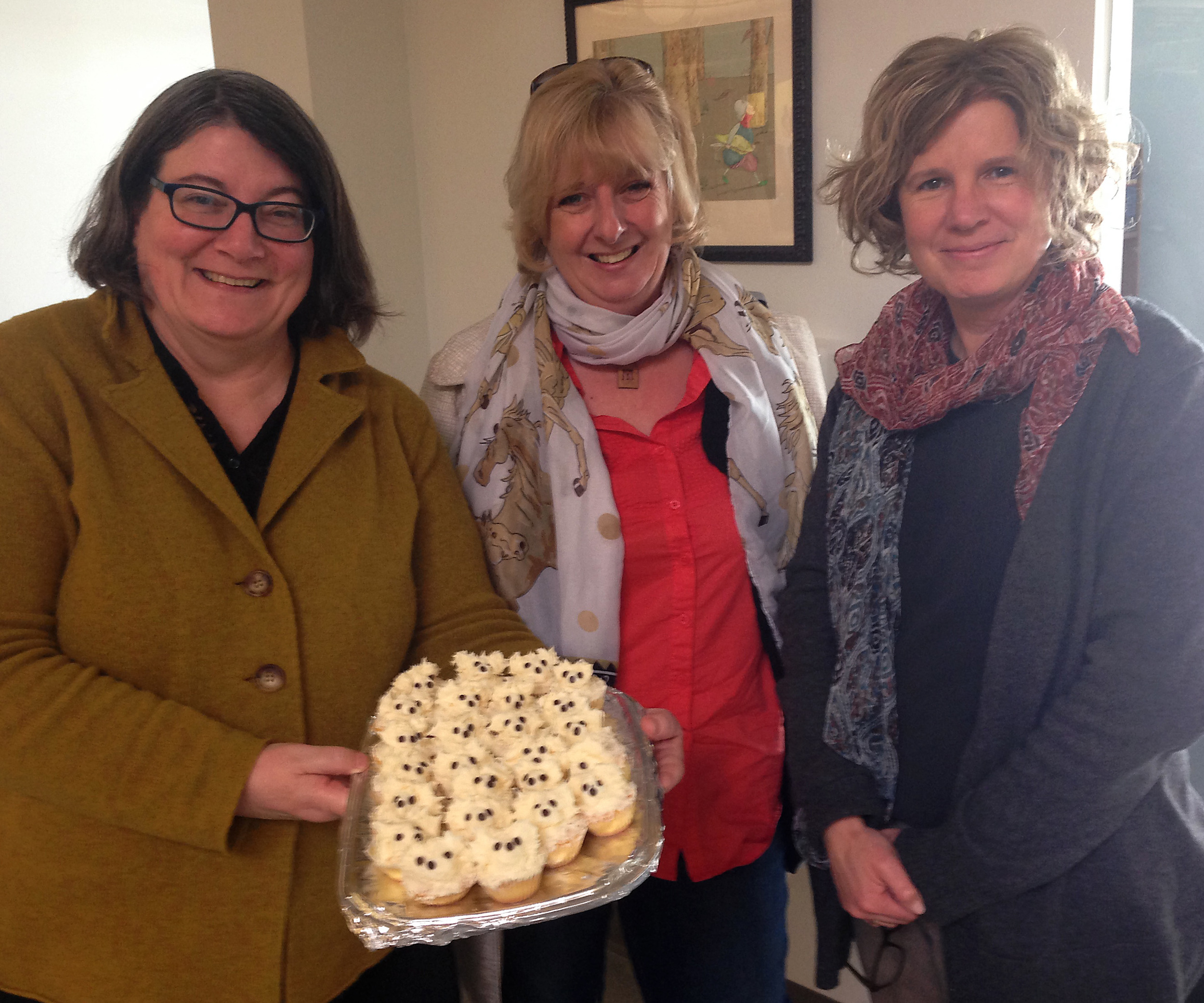 with Elizabeth Bicknell, Ann Stott and Toby cakes at Candlewick Press, Boston.