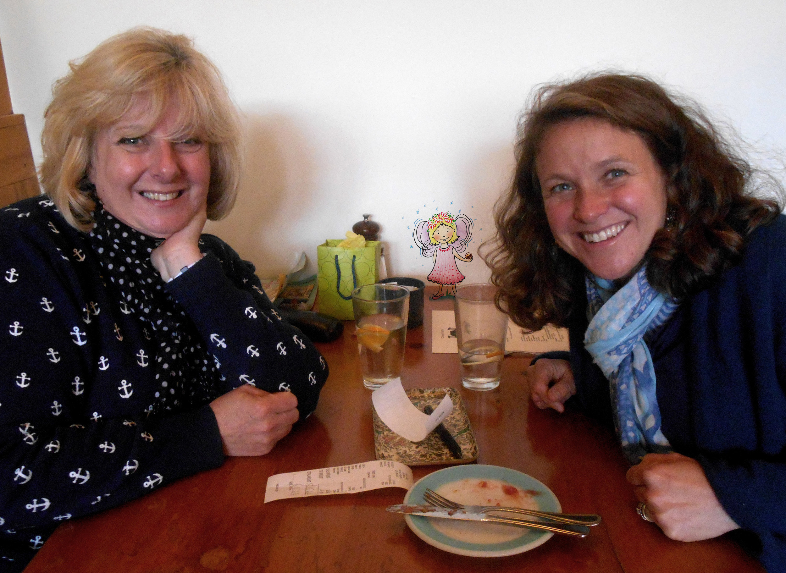 Hazel and Liza first meet to discuss the book. At lunch, of course.