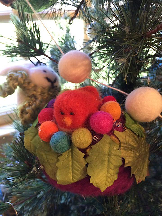 Close up of one of the birds the fairies made cozy for winter.