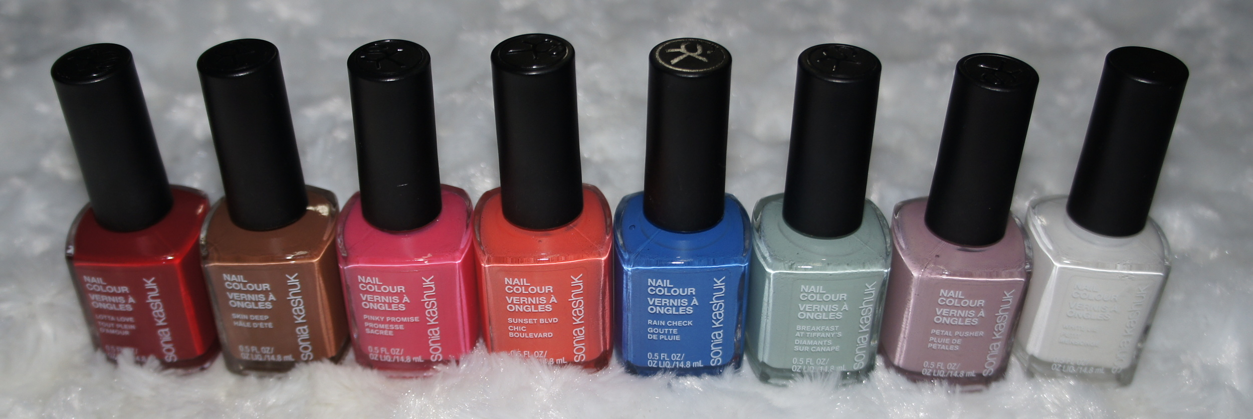 Sonia Kashuk Spring 2014 Collection - Nail Colors for Spring (Lotta Love, Skin Deep, Pinky Promise,Sunset Blvd.,Rain Check,Breakfast at Tiffany's, Petal Pusher, White Lie)