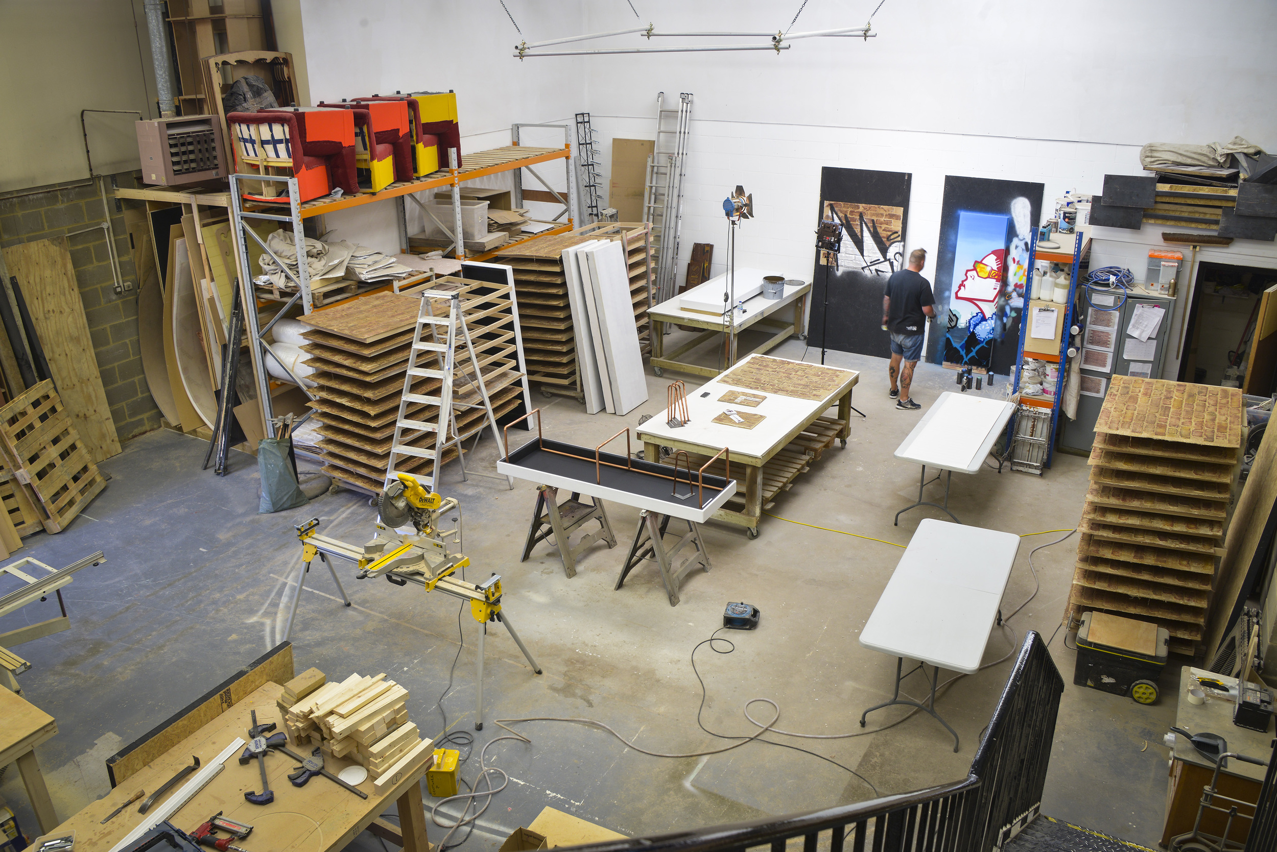 Craftwork Projects' art space, as seen from above. Aroe is pictured in the background.