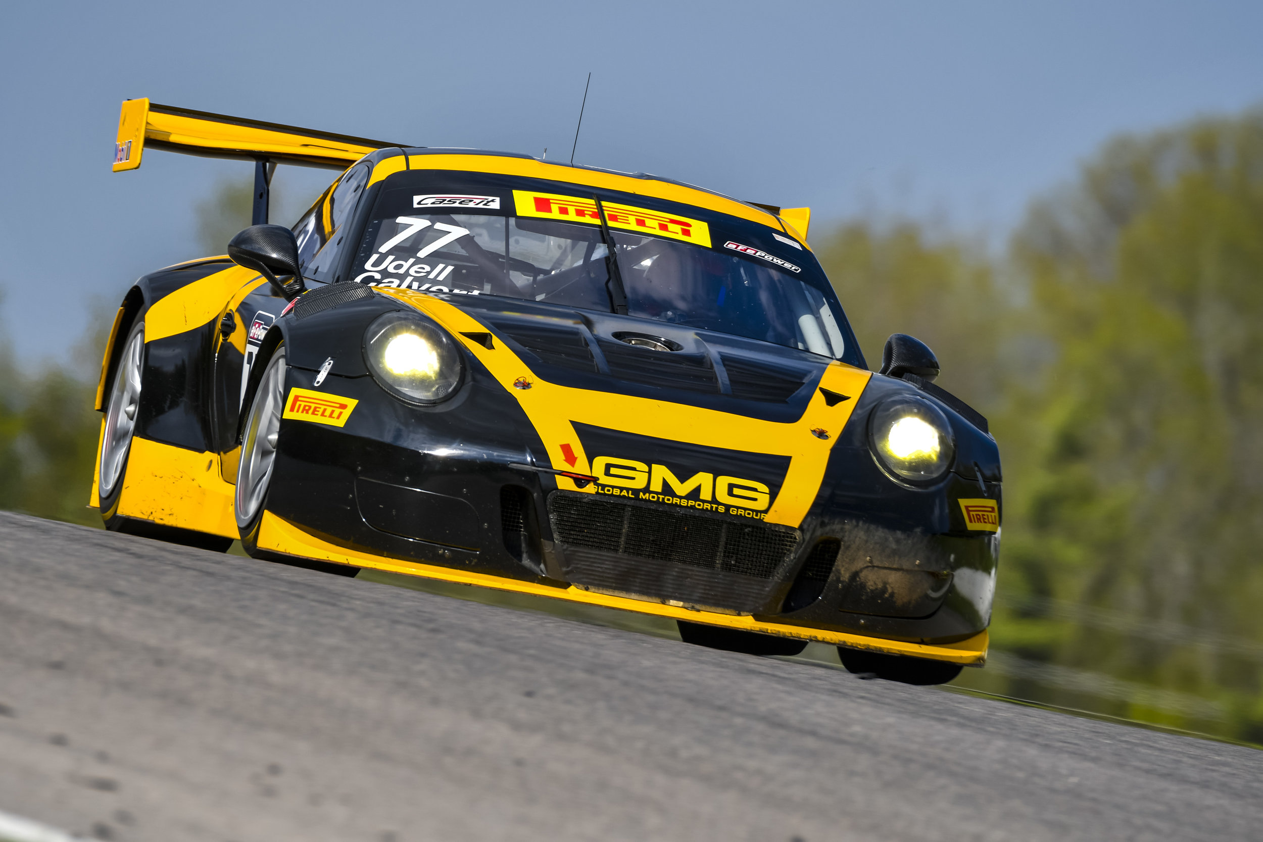 No. 77 Calvert Dynamics Porsche 911 GT3 R at speed at CTMP. Image courtesy of PCNA.