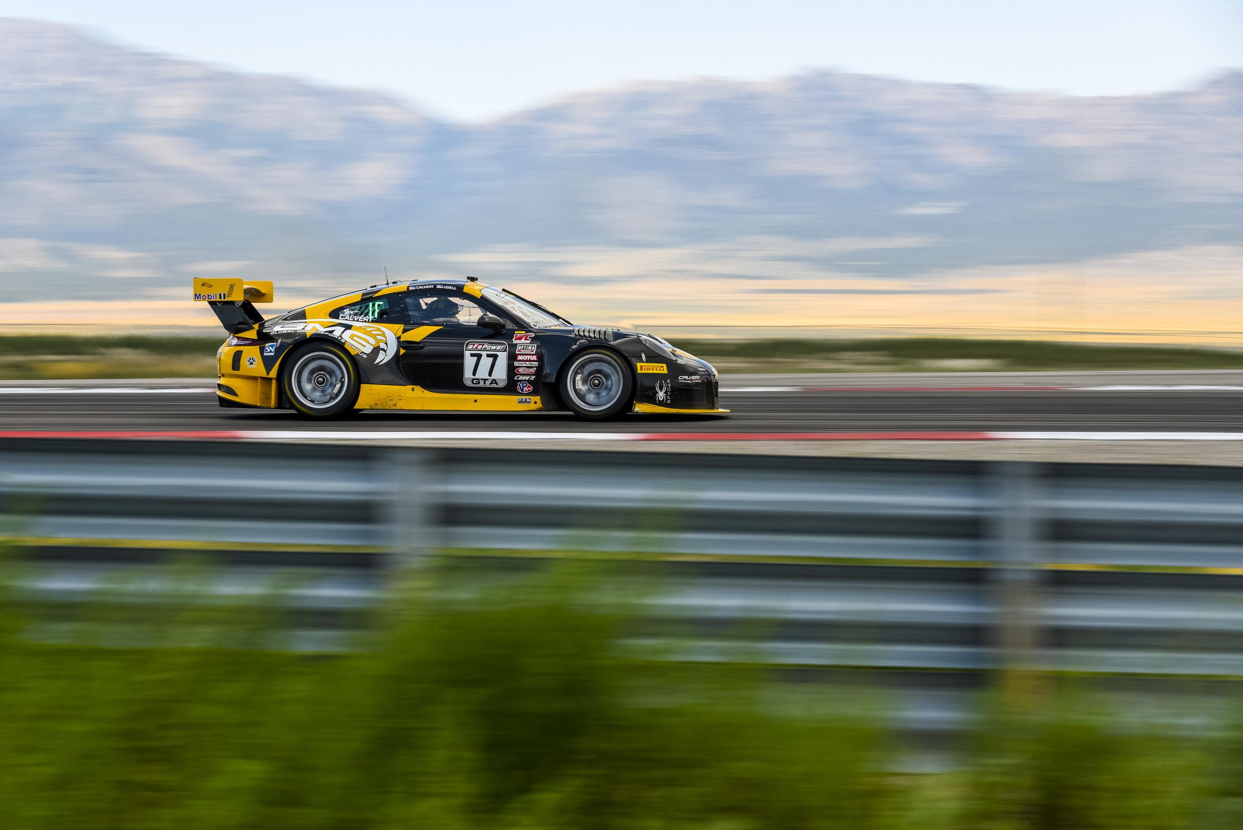 Alec Udell in the No. 77 Calvert Dynamics Porsche 911 GT3 R