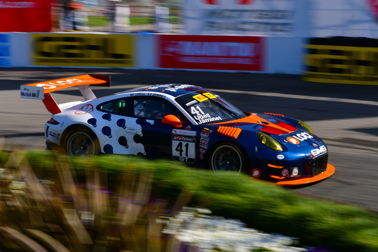Alec Udell at Long Beach in the No. 41 Loci Porsche 911 GT3 R prepared by GMG. Image courtesy of GMG.
