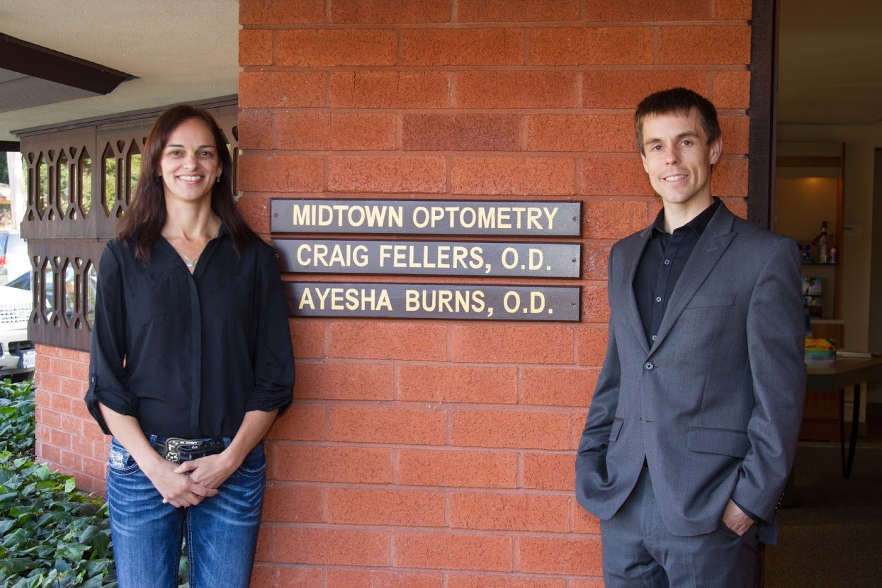 Dr. Craig Fellers and Dr. Ayesha Burns at Midtown Optometry