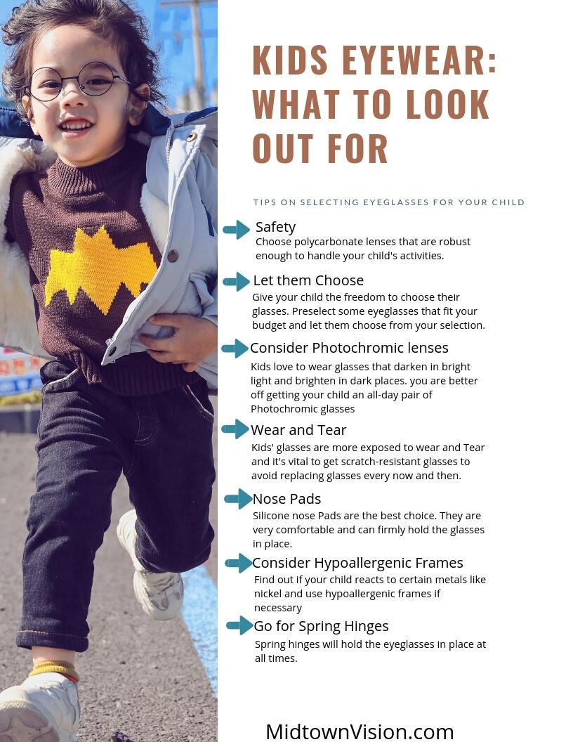 kids eyewear infographic