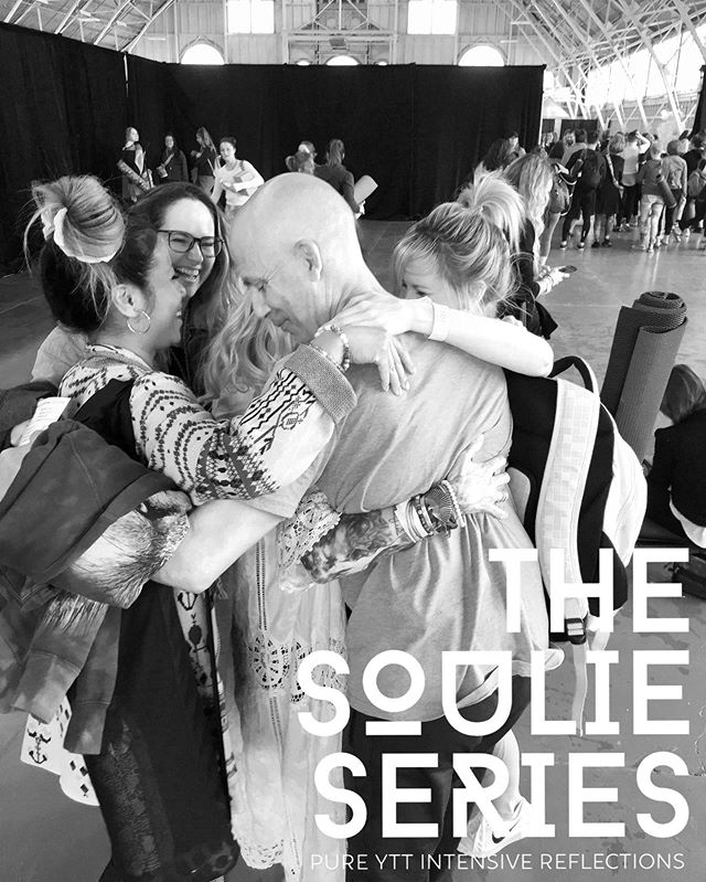 ". THE SOULIE SERIES Introducing a multi-part series. We will be shining a lovelight on our 2018 @pureyogaottawa 200hr YTT Costa Rica Intensive Grads. . Are YOU thinking about taking a 200hr YTT? Does the intensive format appeal to you? Has something within you been calling to expand, deepen, explore, grow? Do you feel it's time to take your Yoga journey into a new sphere - whether on a personal level, a life level, and/or on a service level? Do you feel the call to teach or share this practice? YES? MAYBE? . We want to give you another way to help figure this out AND help you decide if coming to Costa Rica with @tiffaniharrisyoga & I this November is the divine fit for you! See link in my BIO for full program description & deets, registration, etc. . HERE'S HOW the {Soulie Series} WILL WORK: Each post will profile one #Soulie aka YTT GRAD at a time. You will get to hear from each of them, in their own words. Although limited by word count here on Insta, we'll share a small snippet from their experience, reflections about the training, and their current journey ... aka ""life after Costa Rica!"" If something about their story resonates with you, you'll be able to reach out, connect, ask questions, get the real deal, and learn more. How does that feel? Ok then. Let's do this!! S T A Y  T U N E D ... . . . 📸 @sublimeayurvedayoga captures this moment when 5 of our YTT Soulies: @matthew.owers @dairda @martinelalonde7 @frances.prime & @melissainottawa surrounded me in an epic bear hug love bomb after class at @cityofom. This was everything!! . . . #pureyogaottawa #purelove #thesoulieseries #yttgraduates #getreal #ytt #yttcostarica #yttintensive #liveyouryoga #8limbs #asana #pranayama #meditation #philosophy #body #mind #heart #spirit #soul #whole #you #trinity #wearegoingIN #practice #love #onebreath #onemoment #oneintentionalchoiceatatime"