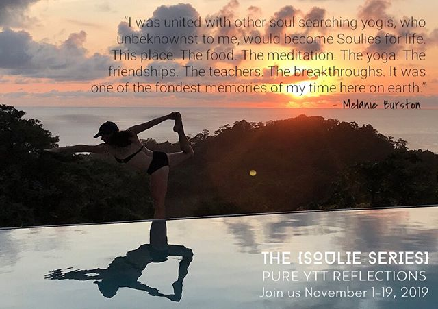 . THE SOULIE SERIES {MELANIE} I'm honoured to introduce @dash4dash, another epic human & YTT grad from our Pure YTT INTENSIVE last year. Here's a snippet from Melanie's journey: 1) In Spring of 2018 a message from @pureyogaottawa appeared in my inbox. I knew at that moment the next step on this journey was to share with others how this new practice [yoga] was helping change my thoughts & behaviours…I wanted a forum to help teach others how wonderful it is & how it can transform not only the body, but also the mind. Reading that email, I knew I was embarking on a journey that would completely turn my life around, and so, the adventure began. I called the studio to chat with the owner to see if I could actually do this - my knowledge was basic & I was unsure if this was even doable for me. After my conversation I felt less fearful & decided even if everything failed, I would have spent my time in peace & harmony, getting to know my inner soul & body on an even deeper level. And I ended up being united with other soul searching yogis who, unbeknownst to me would become Soulies for life. This place was magical & homey all at once. The views stretched out over the jungle w/ a picturesque view of the ocean & most amazing sunsets. The air filled my lungs with restoration, a gift of healing that would continue w/ gourmet meals 3 times a day, prepared by our very own personal chef & lovely sous chef. The pets were an added form of healing that we could not even imagine outside of our own personal lives. Unconditional love at just the right moments! Meditation: The days began with an early half hour meditation, teaching our bodies to pause & breathe in our surroundings, nothing to think about, only the presence of this moment. At the beginning it was super hard for me to be still & quiet, the sitting was uncomfortable & difficult to stay focused but w/ practice it became easier & that's when the breakthrough happened. Asana: The yoga was a great way to focus my energy, the learnings were intense but w/ purpose. We all embraced the discomfort & long days w/ passion. Connection: The friendships grew, the bonding continued & the training flew by (cont'd in comments)...