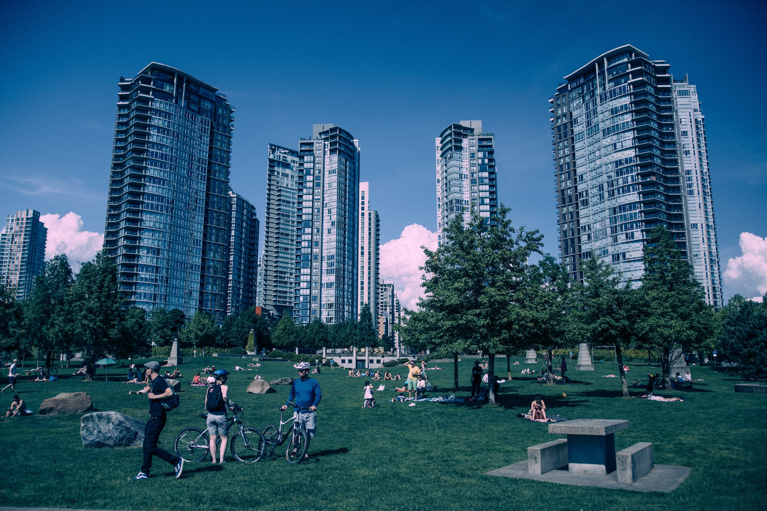 A typical parkscape: children frolic and adults watch while urbanity and nature harmonize.