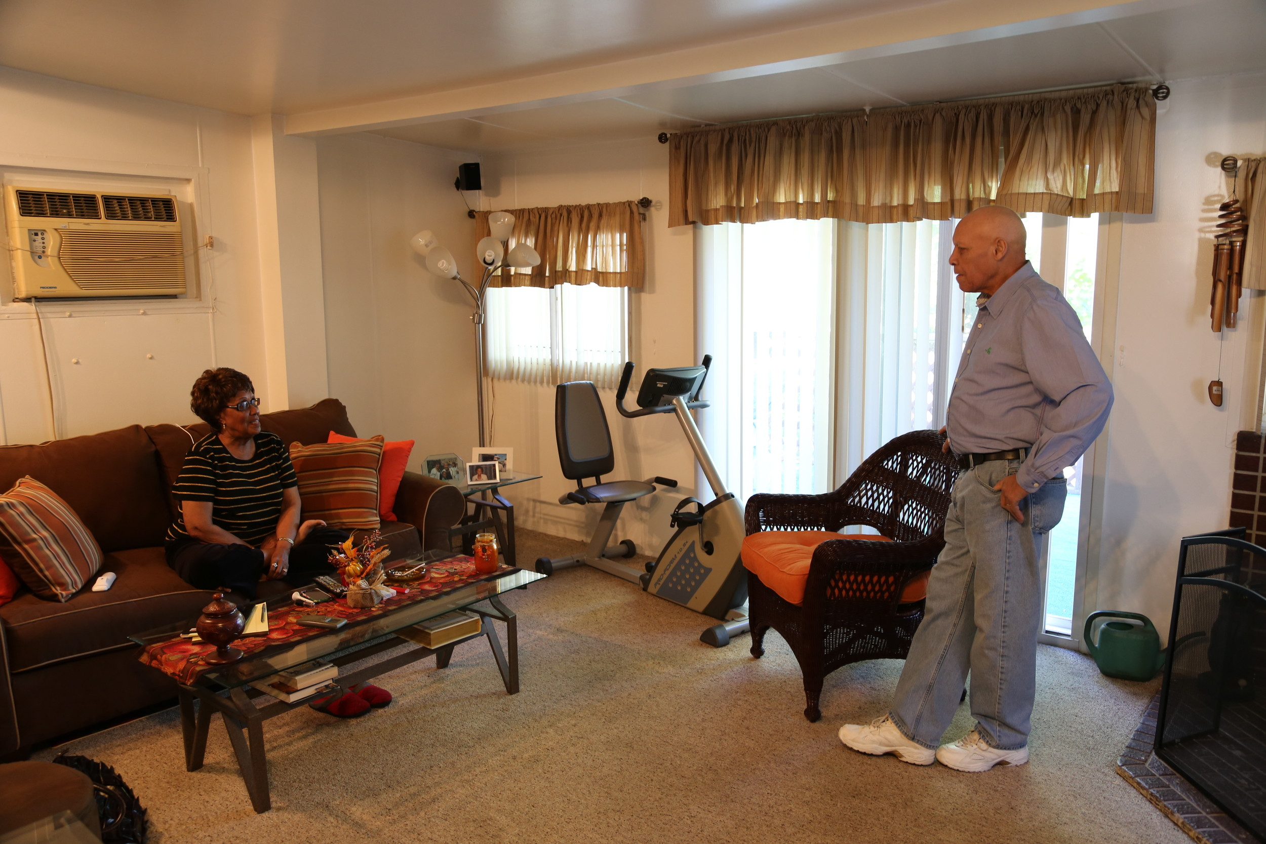 Shirley Huntley and her husband Herbert in the sitting room of their Jamaica, Queens home, where she secretly recorded other State Senators in an FBI sting operation