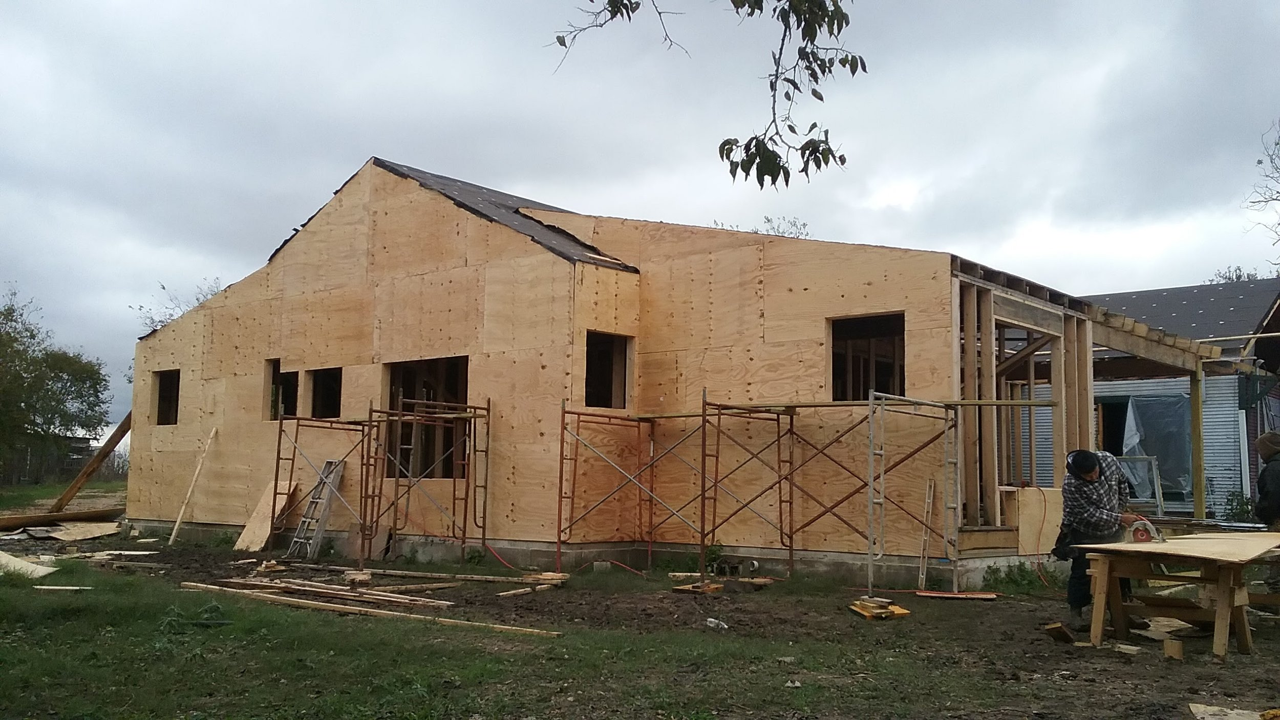 The perfect wall as a plywood box during early framing.