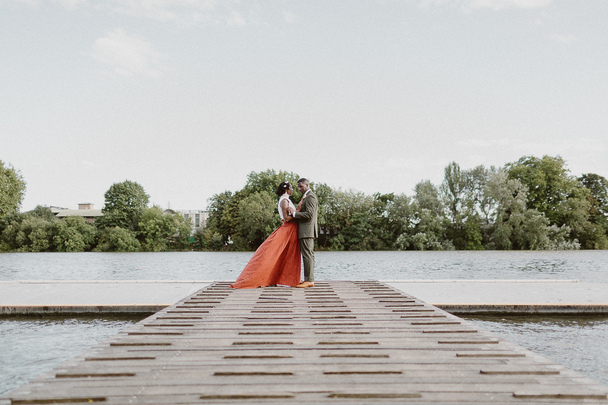 Couple standing on a pontoon