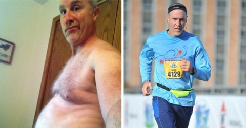 Scott's BEFORE and AFTER shots 65 pounds lighter and enjoying a more active lifestyle!