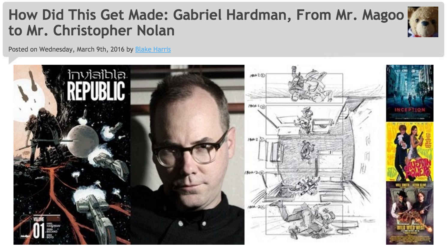 3/9/16:   BONUS FEATURE (A Conversation with Gabriel Hardman)