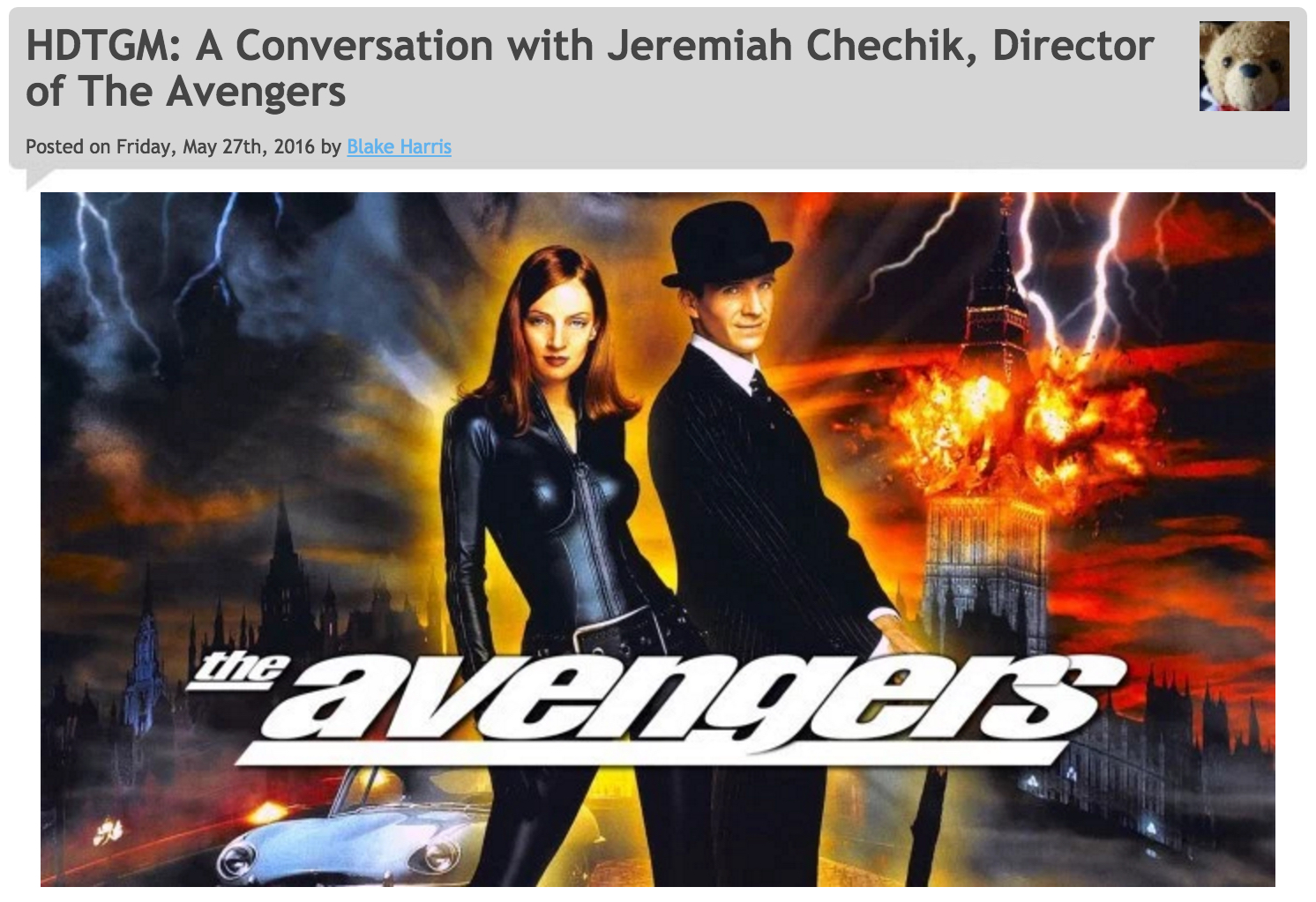 5/27/16: THE AVENGERS (A Conversation with Jeremiah Chechik)