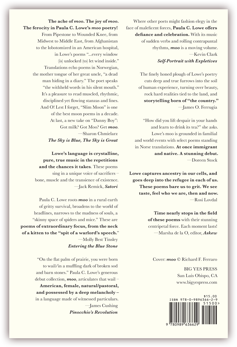 moo   (back cover) Poems by Paula C. Lowe CLICK IMAGE TO ENLARGE
