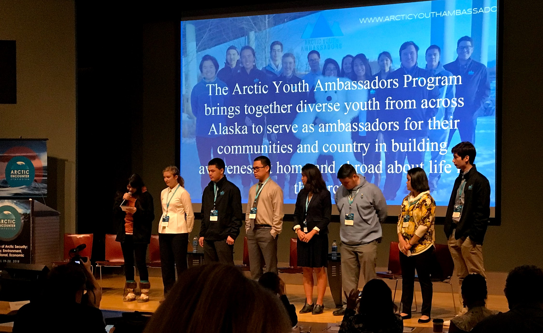 Arctic Youth Ambassadors present in front of policymakers at the 5th Annual Arctic Encounter Symposium in Seattle, April 19-20, 2018.