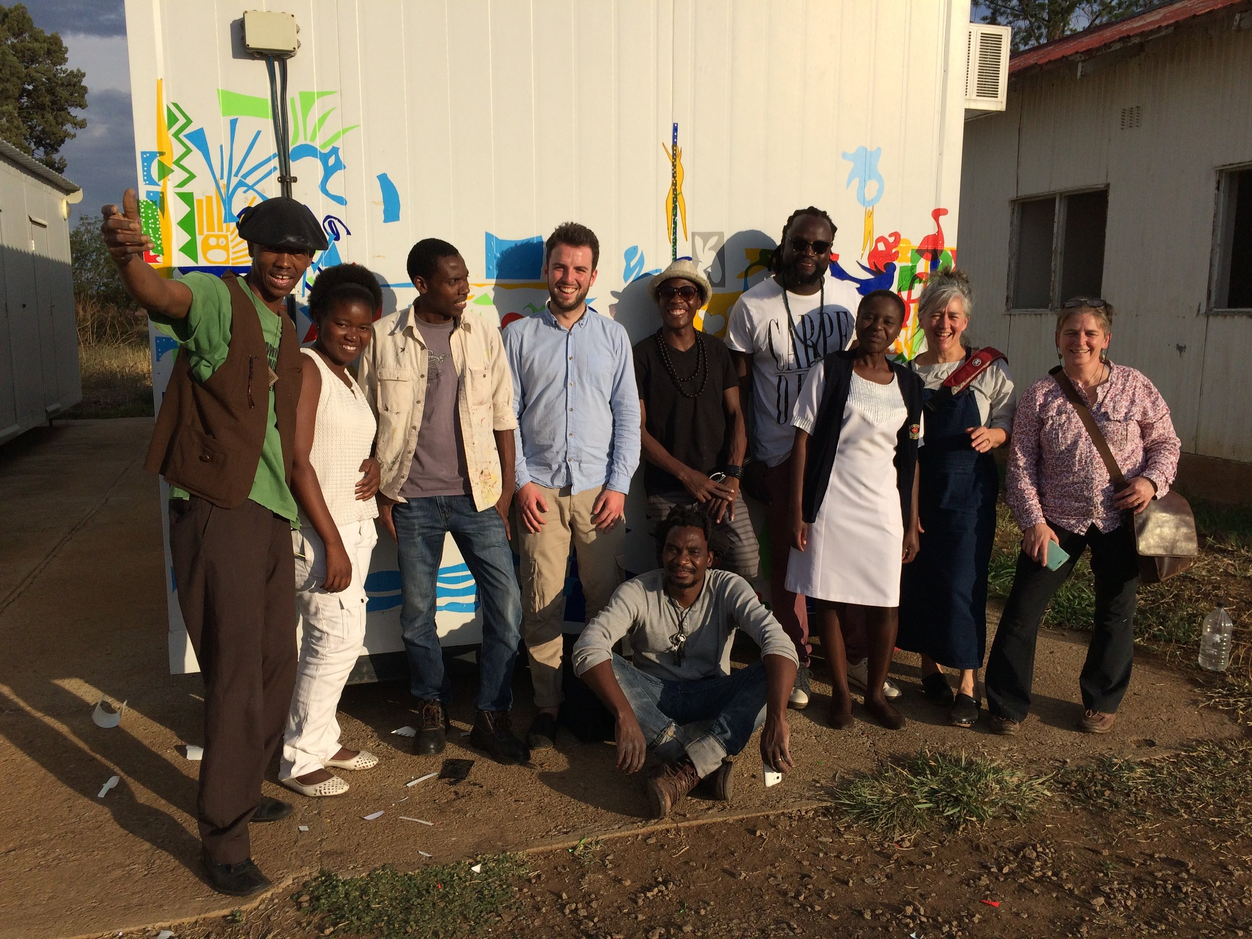Bulawayo-based artists at Lady Rodwell including Danisile Ncube, Omega Sibanda, Talent Kapadza, Owen Maseko, George Masarira, and Charles Bhebe. Also featured: Shane Strachan (Writer), Sue Fairburn (Designer) and Sally Thomson (Director, Grampian Hospitals Arts Trust)