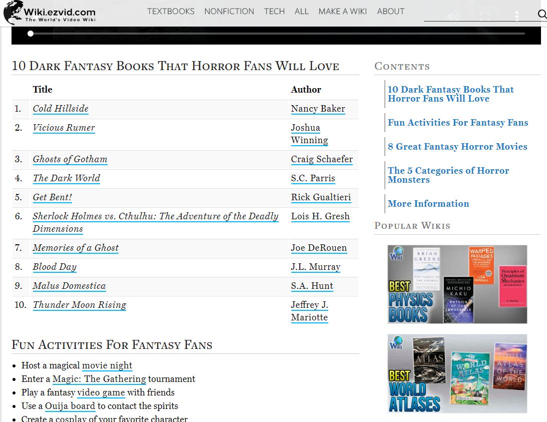 Top Ten Dark Fantasy Books by Wiki.ezvid