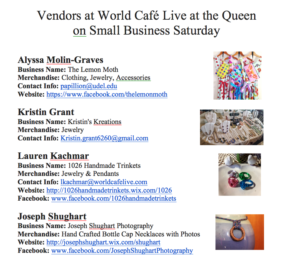 Vendors at the Queen for Small Business Saturday