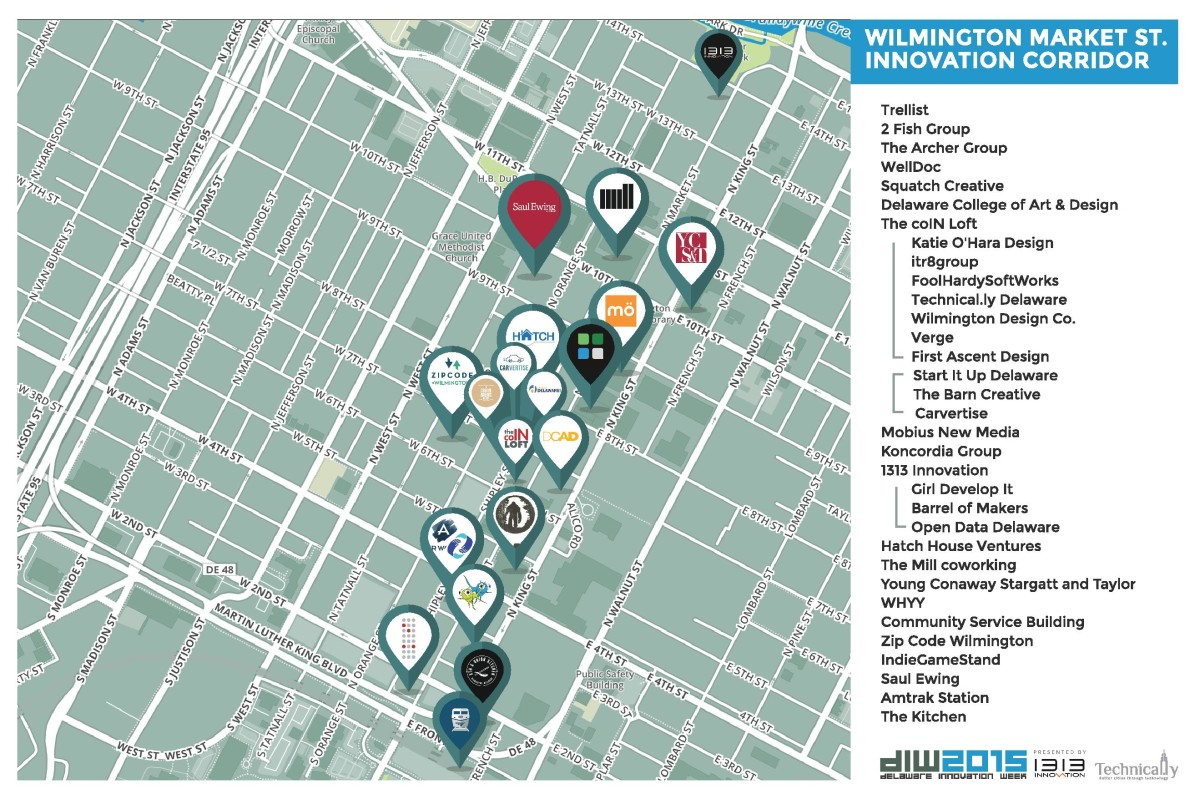 Technical.ly mapped Wilmington's innovation corridor ahead of Delaware Innovation Week.