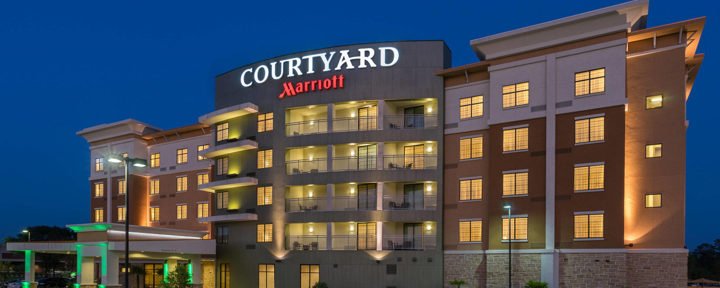 Courtyard by Marriott is a brand of hotels owned by Marriott International. They are a mid-priced range of hotels designed for business travellers but also accommodates families. Its rooms have desks, couches, and free Internet access