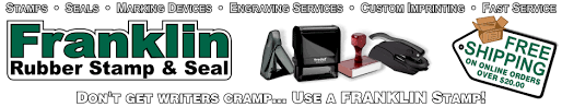 Franklin Rubber Stamp & Seal was established in 1930. We are in the marking device industry, and manufacture rubber stamps, self-inking stamps, pre-inked stamps, embossing seals, signs, nameplates, name pins & corporate kits