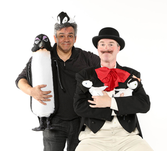 Brian Hull with Geoff Davin and penguin puppets from NCT's  Mr. Popper's Penguins