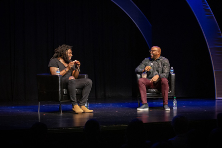 Jason Reynolds and Idris Goodwin at the 2019 TYA/USA Festival & Conference. (Photo by Sara Keith Studios)