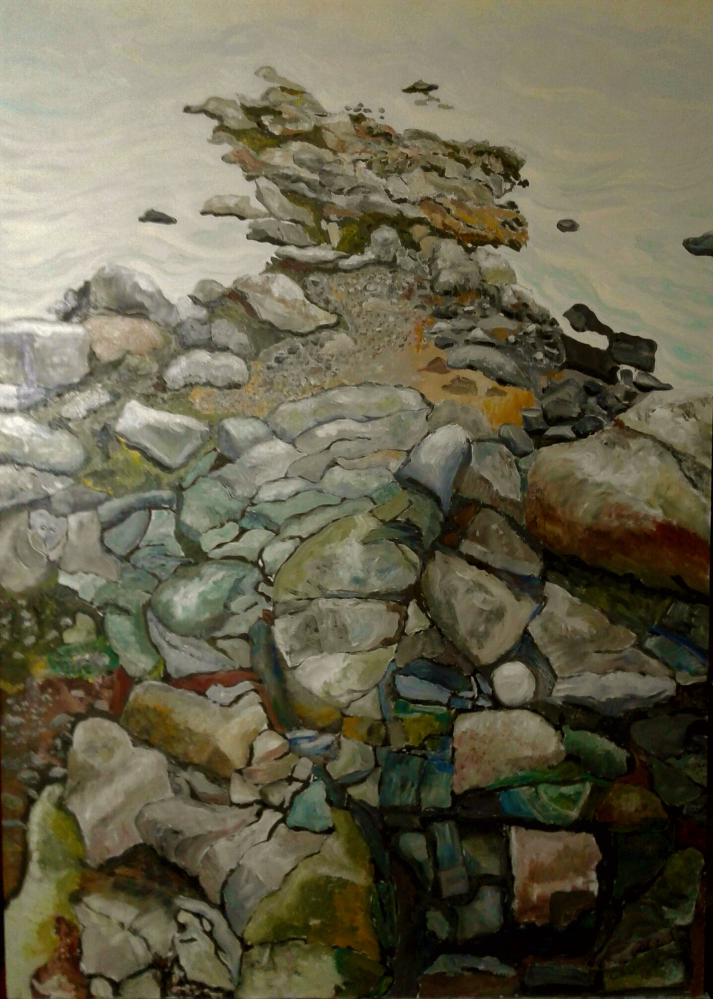 THE SEA CAPTAIN   Water-Soluble oil on board 2018  When painting this I discovered an image of a Sea Captain in the rocks.  I feel it is the presence of one lost at Sea.